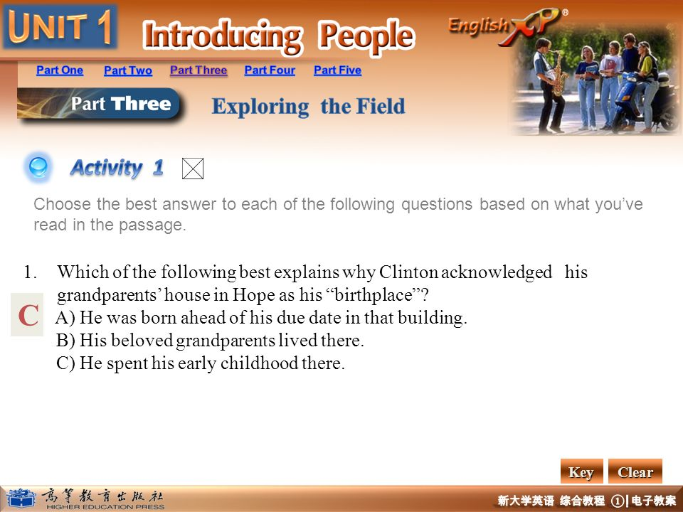 Activity 1 Choose the best answer to each of the following questions based on what you've read in the passage.