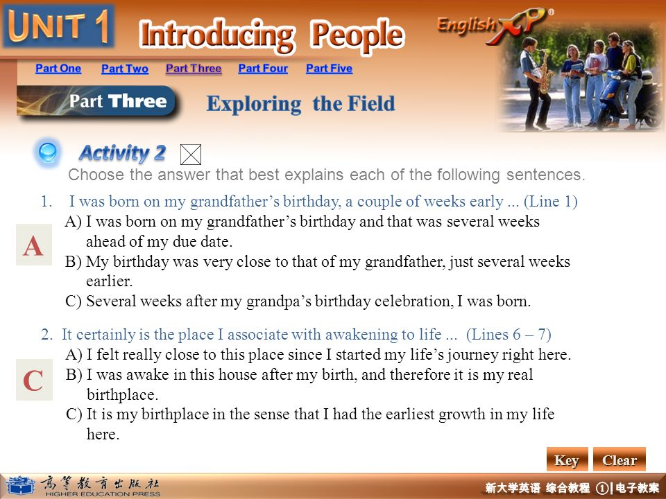 Activity 2 Choose the answer that best explains each of the following sentences.