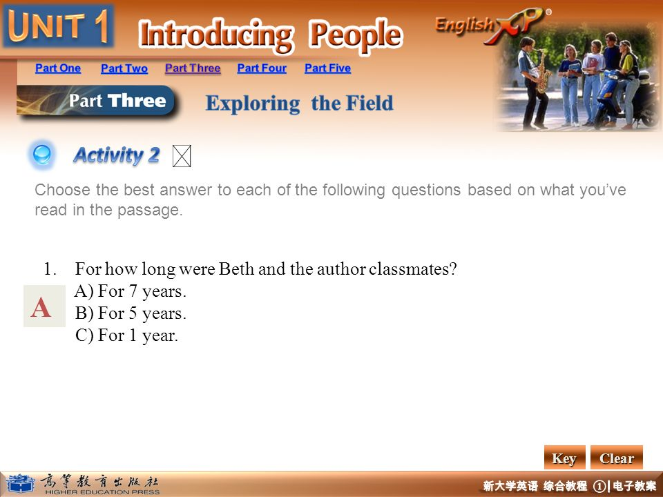 A Activity 2 1. For how long were Beth and the author classmates