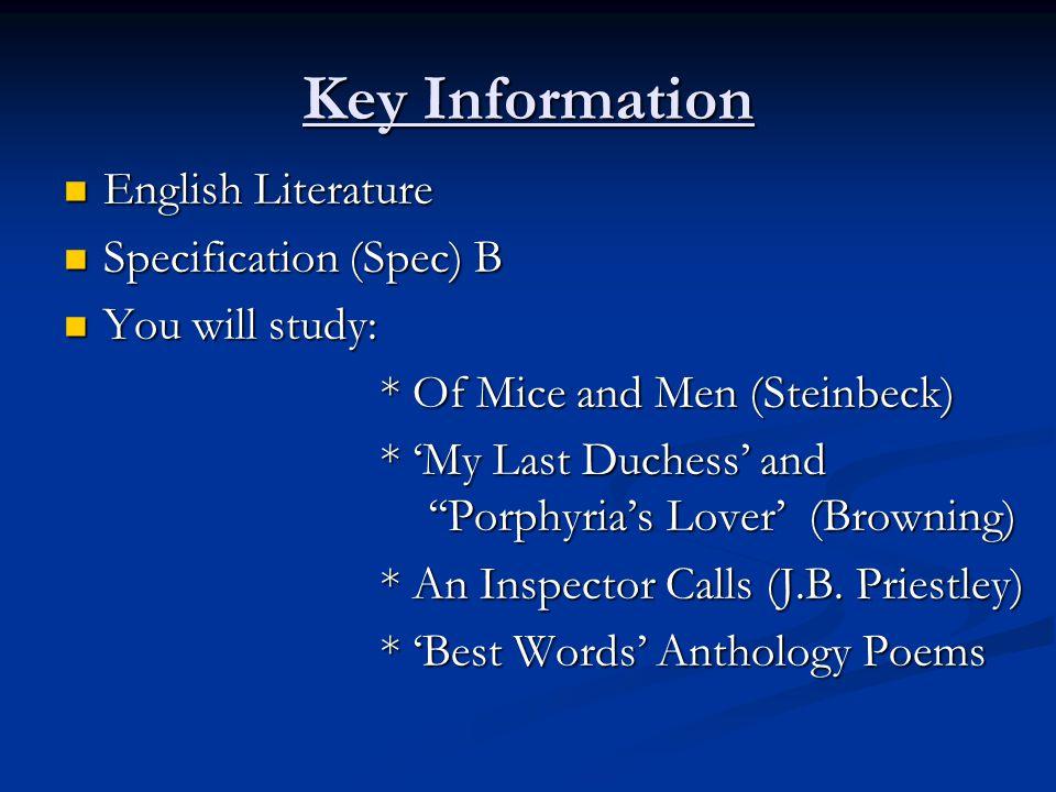 Key Information English Literature Specification (Spec) B