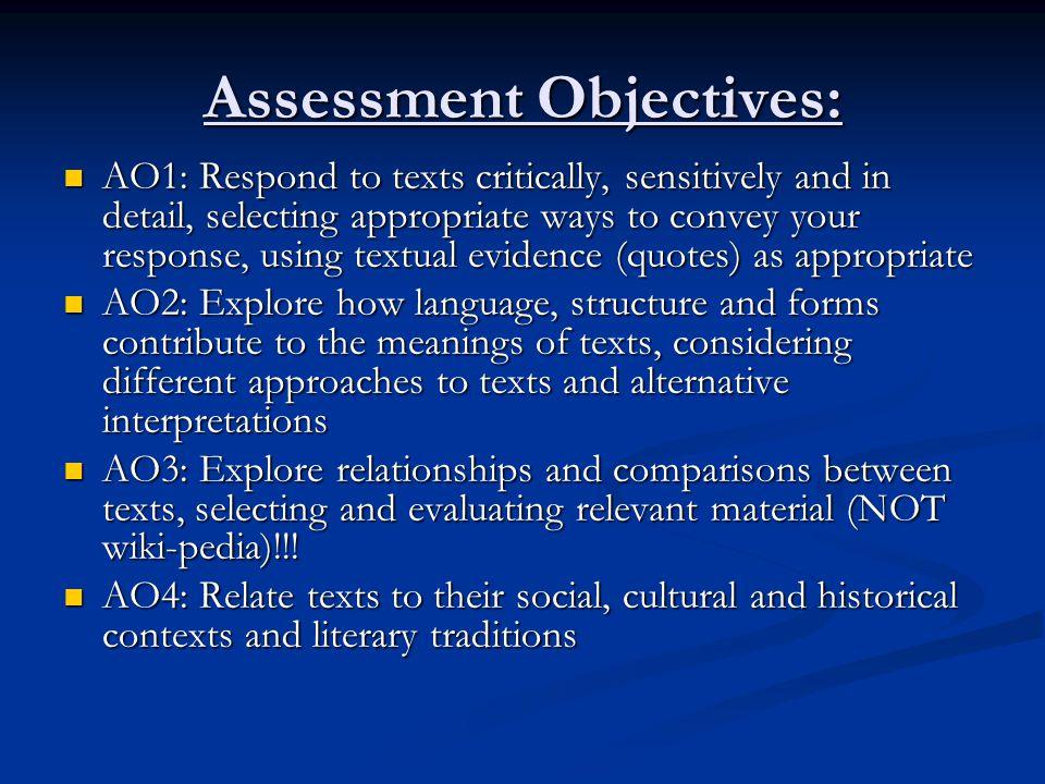 Assessment Objectives: