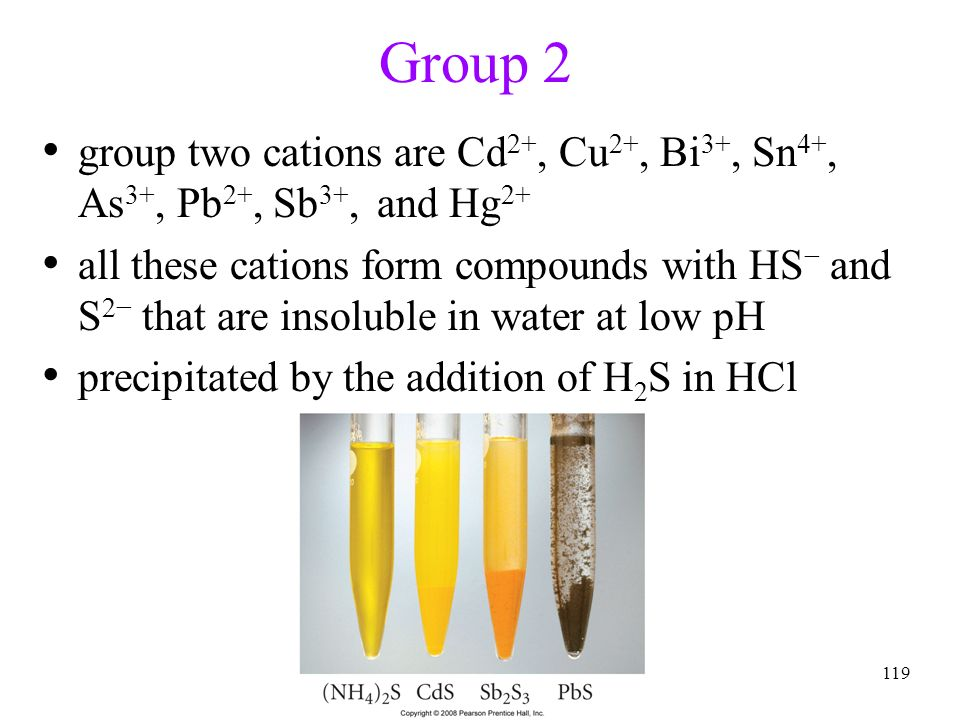 Group 2 group two cations are Cd2+, Cu2+, Bi3+, Sn4+, As3+, Pb2+, Sb3+, and Hg2+