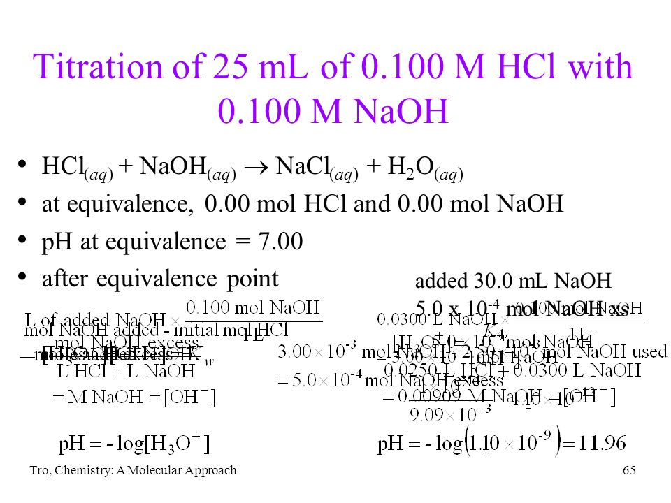 Titration of 25 mL of 0.100 M HCl with 0.100 M NaOH