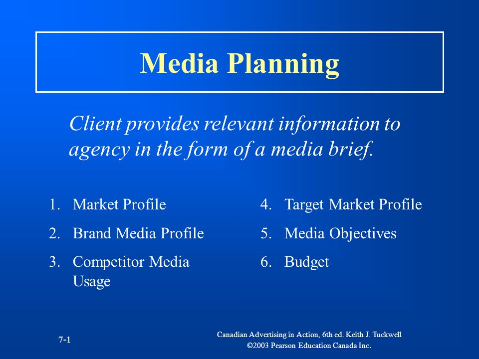 Media Planning Client provides relevant information to agency in the form of a media brief. Market Profile.