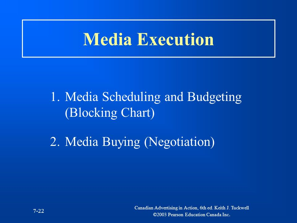 Media Execution Media Scheduling and Budgeting (Blocking Chart)