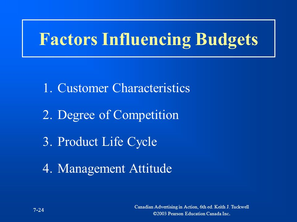 Factors Influencing Budgets