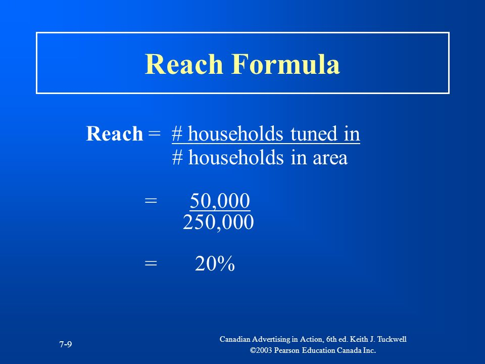 Reach Formula Reach = # households tuned in # households in area