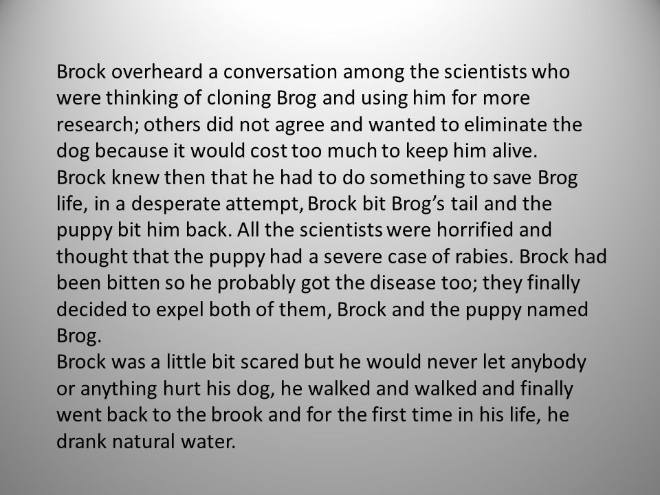 Brock overheard a conversation among the scientists who were thinking of cloning Brog and using him for more research; others did not agree and wanted to eliminate the dog because it would cost too much to keep him alive.
