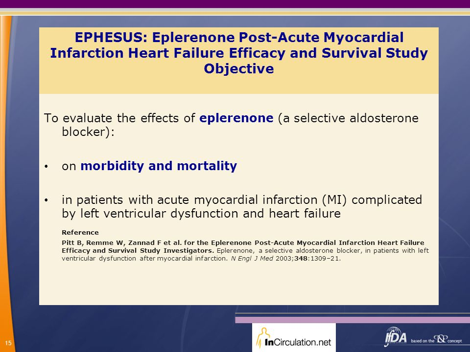 EPHESUS: Eplerenone Post-Acute Myocardial Infarction Heart Failure Efficacy and Survival Study Objective