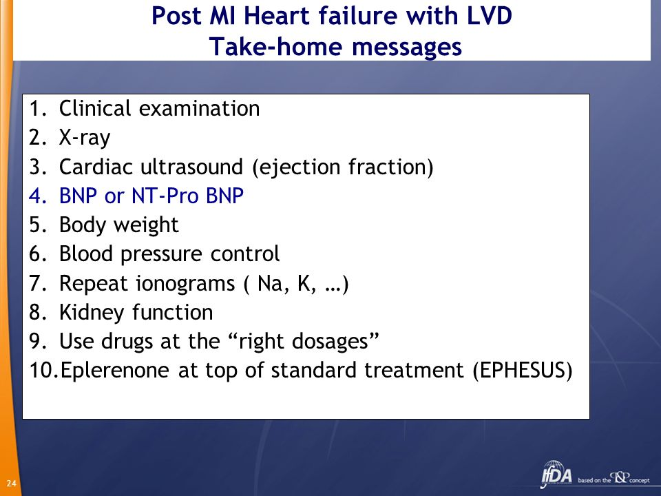 Post MI Heart failure with LVD Take-home messages