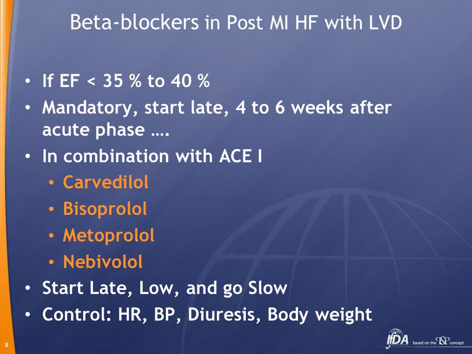Beta-blockers in Post MI HF with LVD