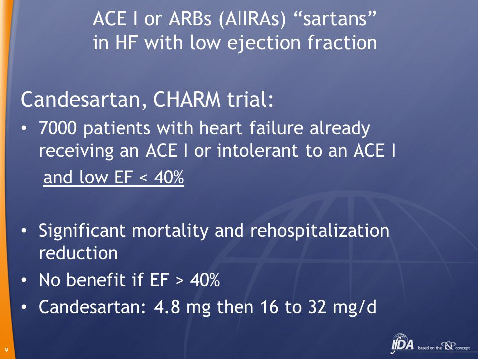 ACE I or ARBs (AIIRAs) sartans in HF with low ejection fraction
