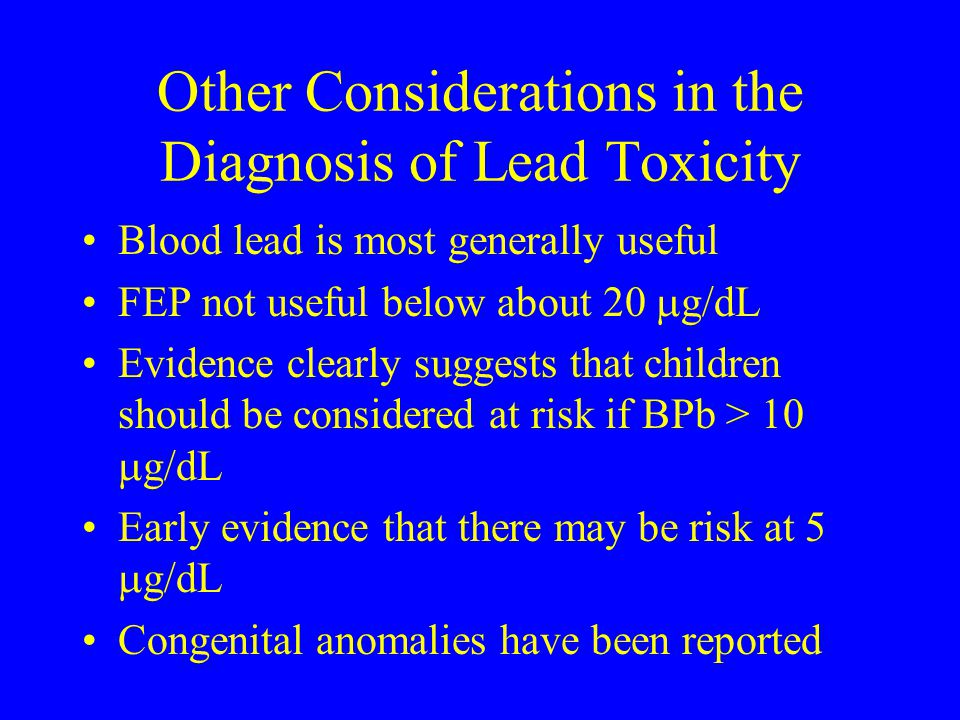 Other Considerations in the Diagnosis of Lead Toxicity
