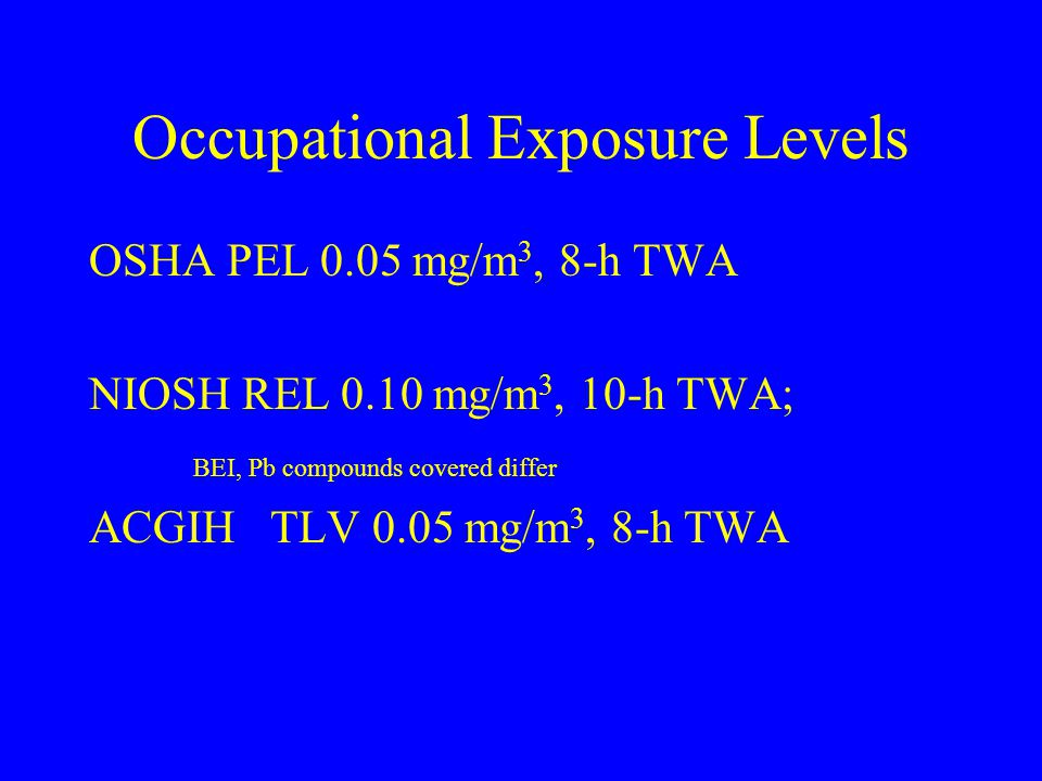 Occupational Exposure Levels