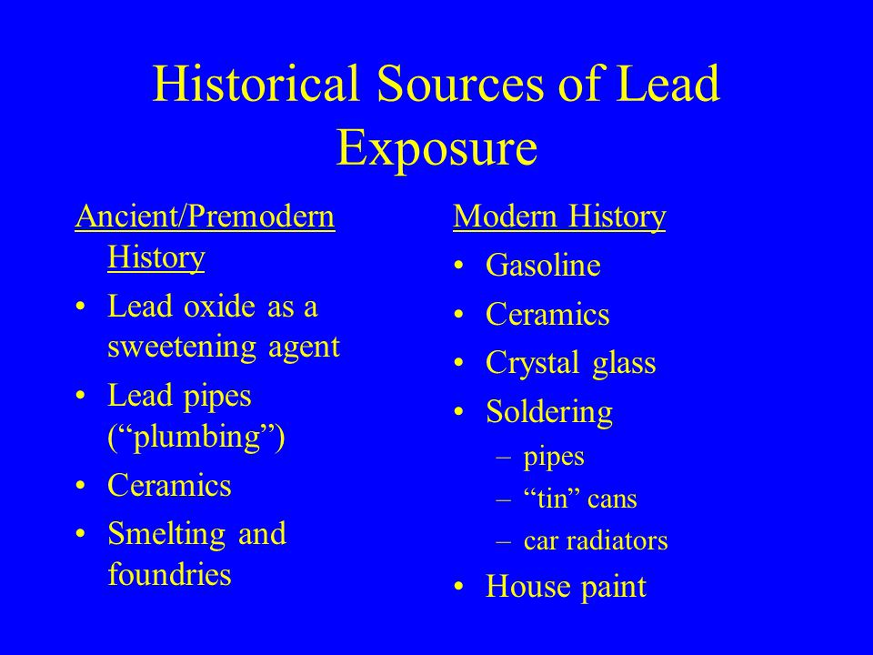 Historical Sources of Lead Exposure