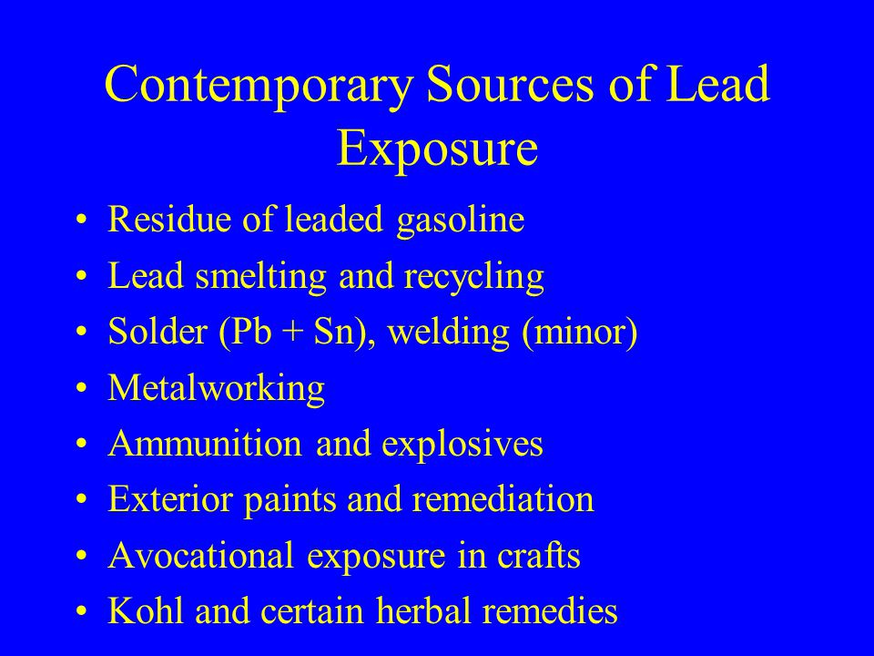 Contemporary Sources of Lead Exposure