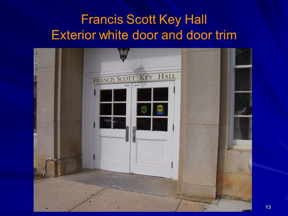Francis Scott Key Hall Exterior white door and door trim
