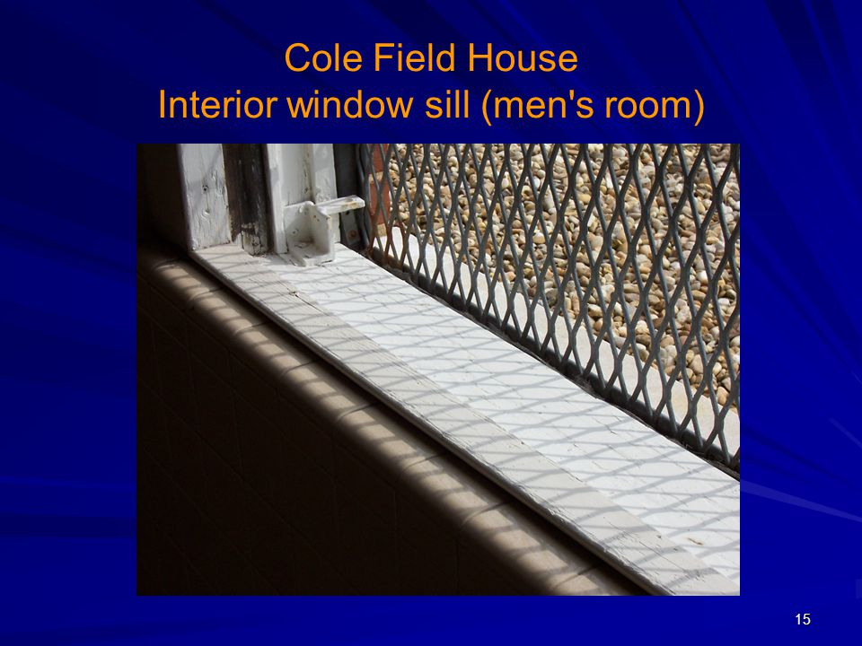 Cole Field House Interior window sill (men s room)