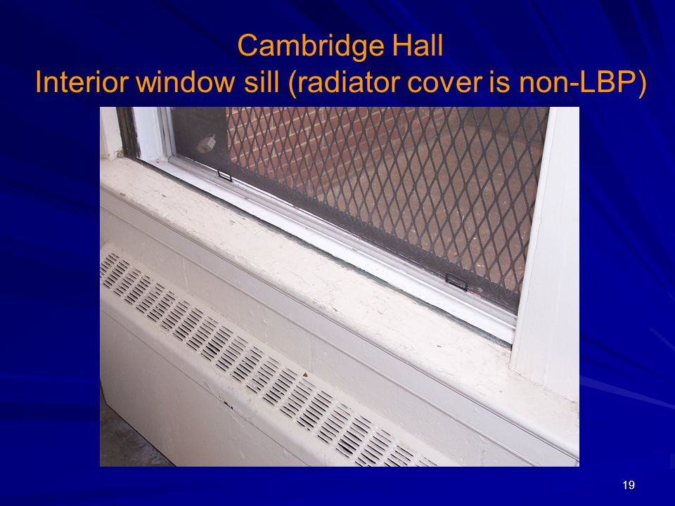 Cambridge Hall Interior window sill (radiator cover is non-LBP)