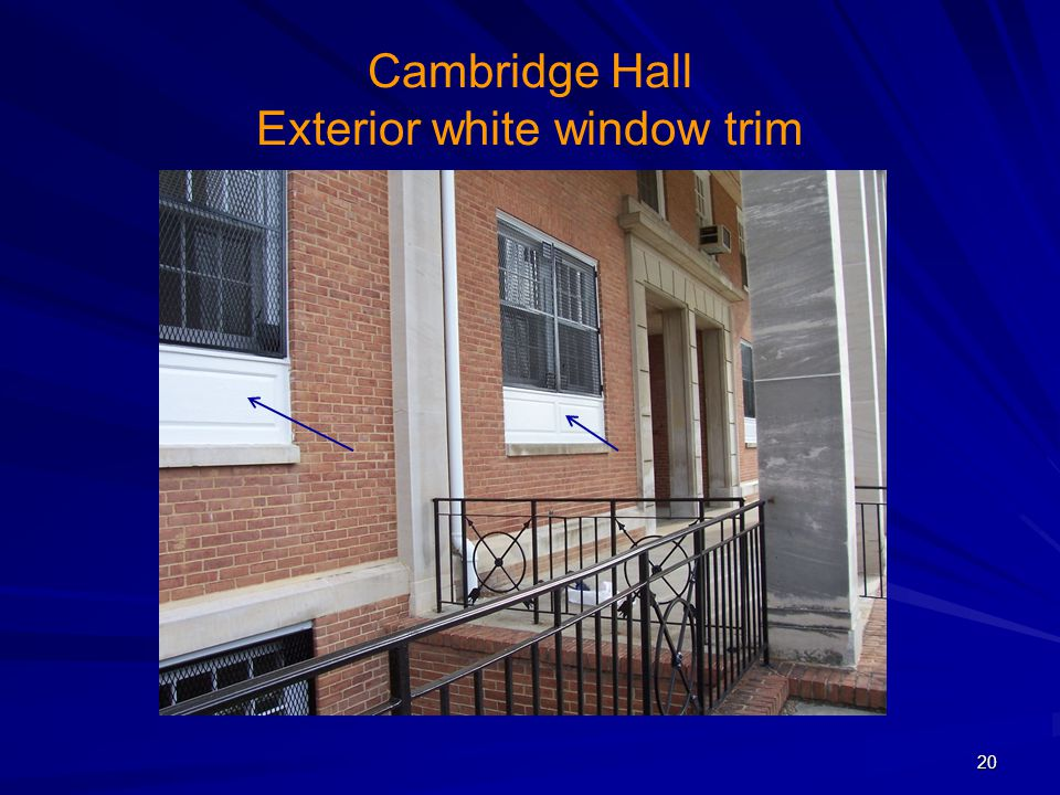 Cambridge Hall Exterior white window trim
