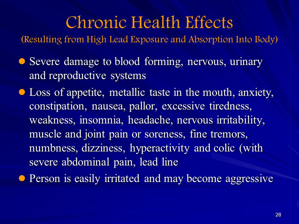 Chronic Health Effects (Resulting from High Lead Exposure and Absorption Into Body)
