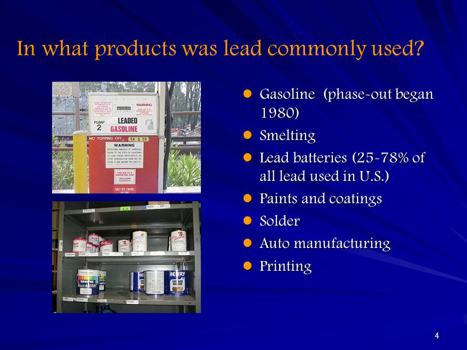 In what products was lead commonly used