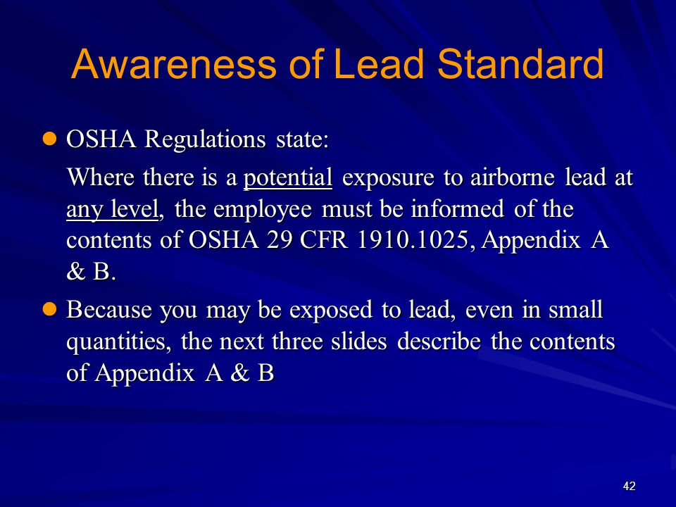 Awareness of Lead Standard