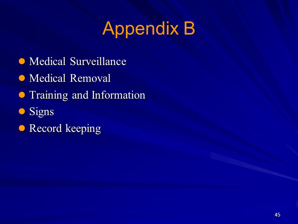 Appendix B Medical Surveillance Medical Removal