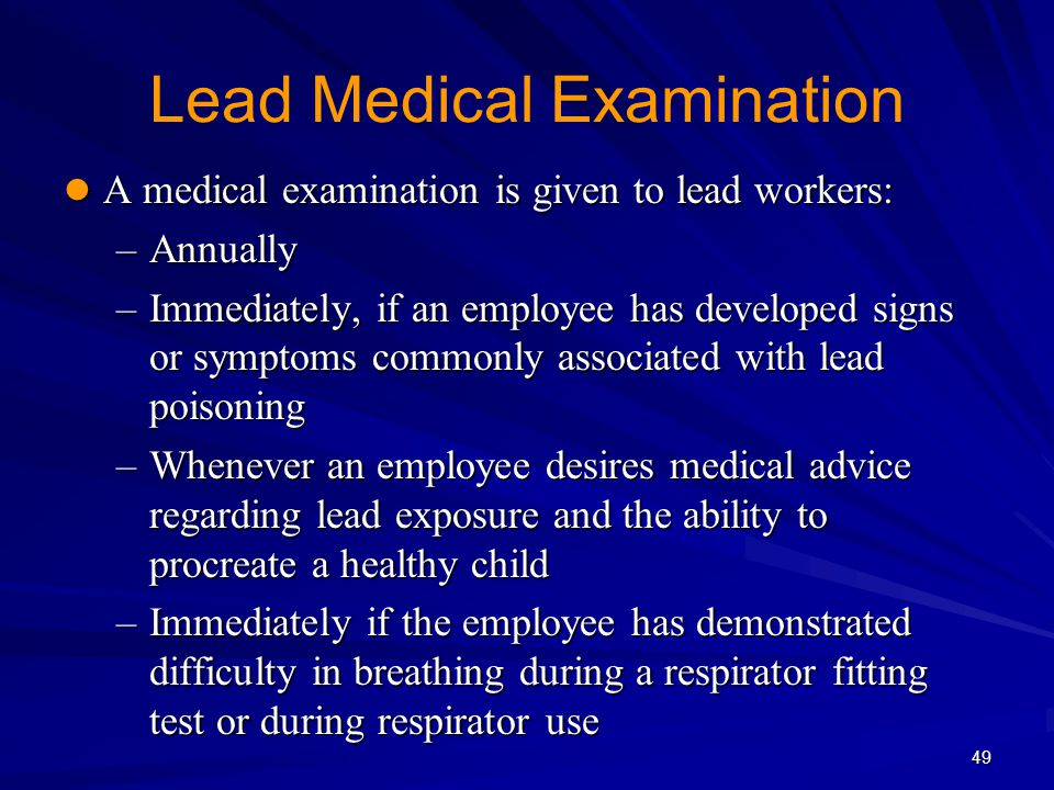 Lead Medical Examination