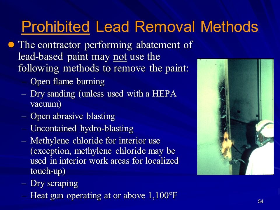 Prohibited Lead Removal Methods