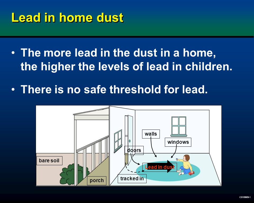 Lead in home dust The more lead in the dust in a home, the higher the levels of lead in children. There is no safe threshold for lead.