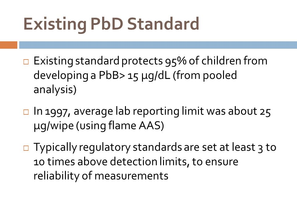 Existing PbD Standard Existing standard protects 95% of children from developing a PbB> 15 µg/dL (from pooled analysis)