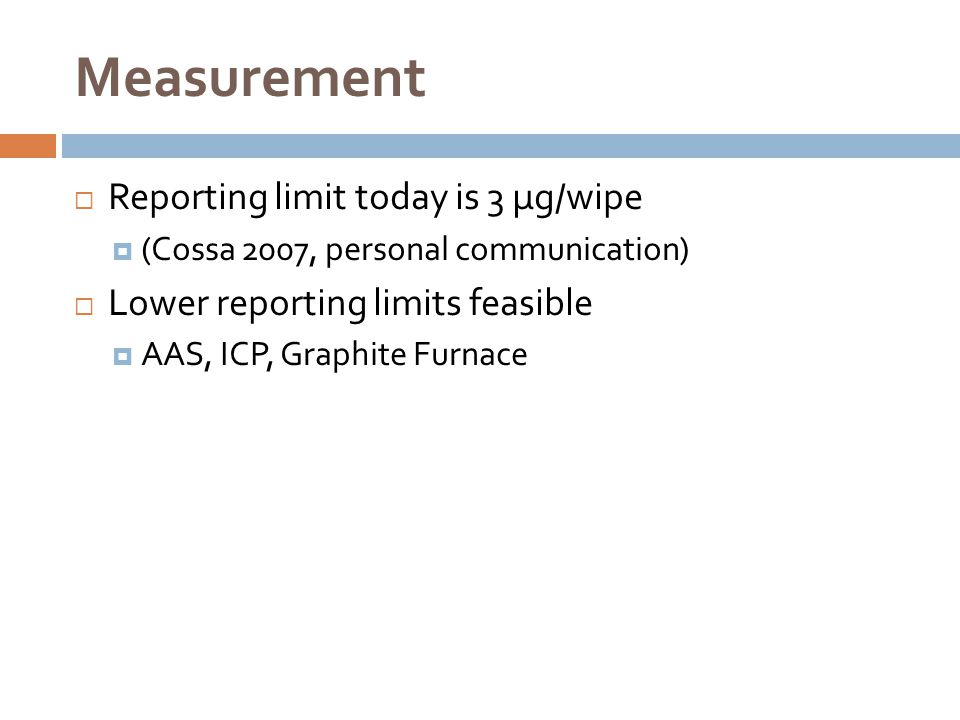 Measurement Reporting limit today is 3 µg/wipe