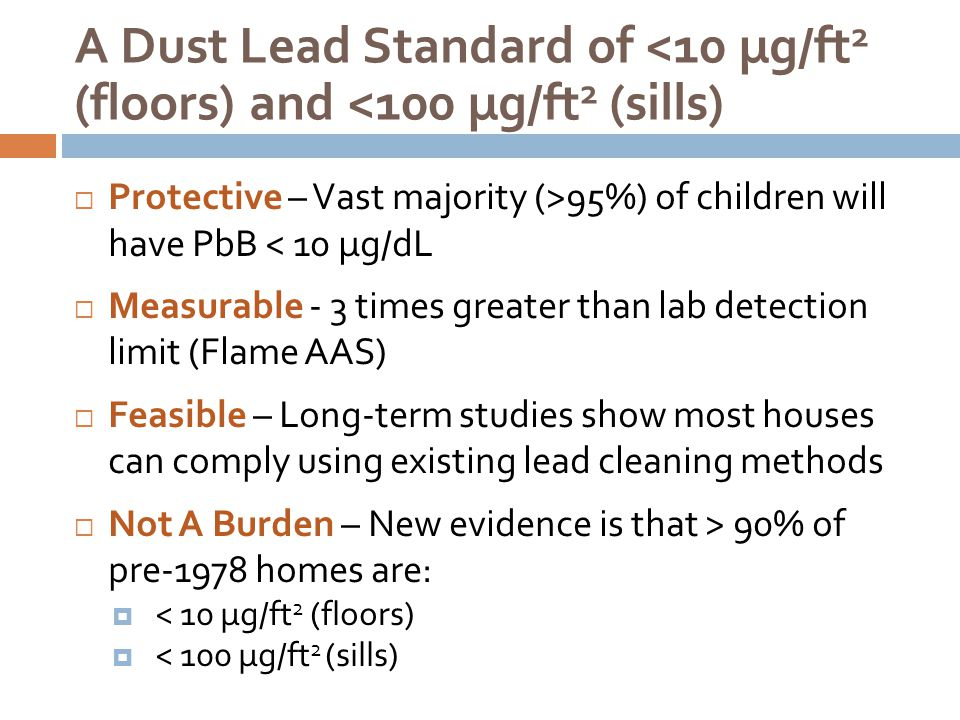 A Dust Lead Standard of <10 µg/ft2 (floors) and <100 µg/ft2 (sills)