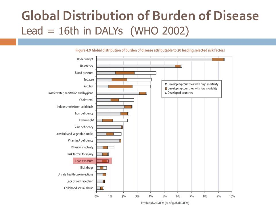 Global Distribution of Burden of Disease Lead = 16th in DALYs (WHO 2002)