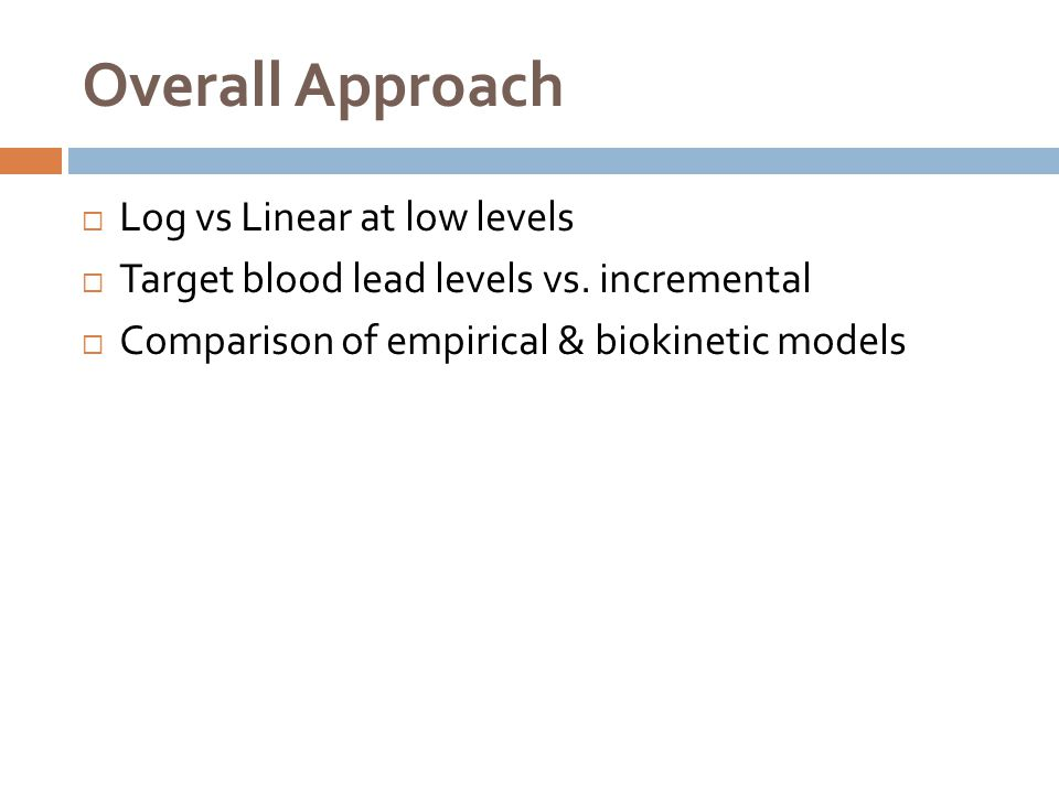Overall Approach Log vs Linear at low levels