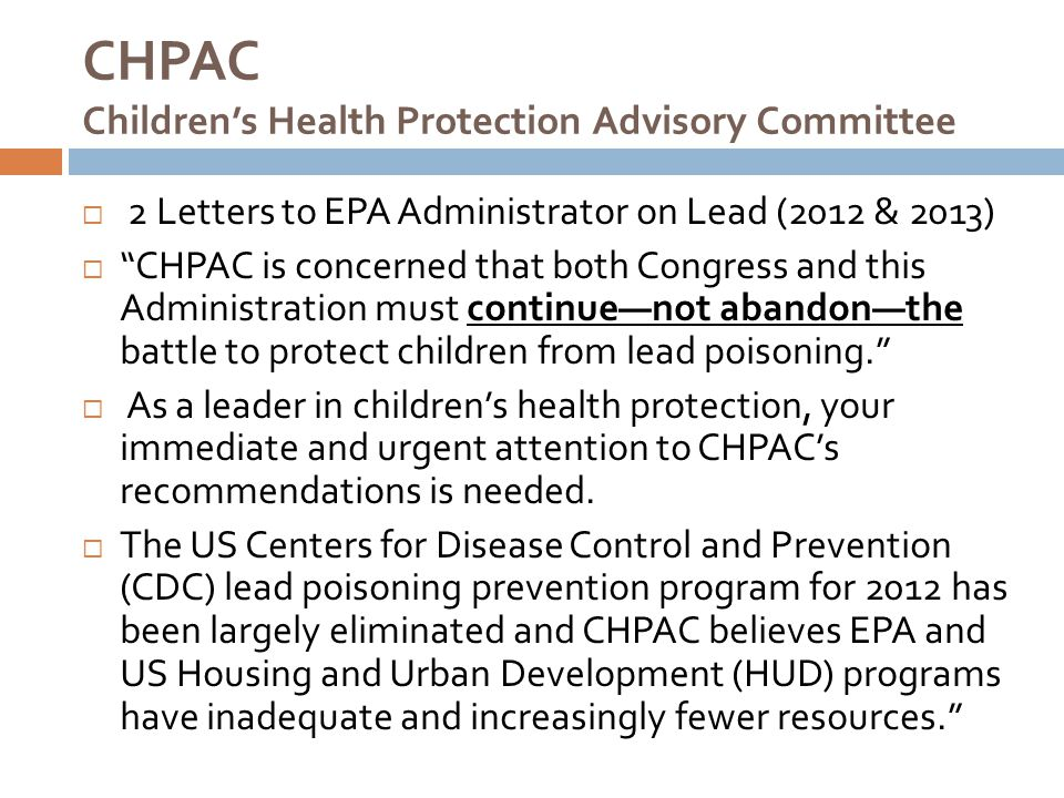 CHPAC Children's Health Protection Advisory Committee