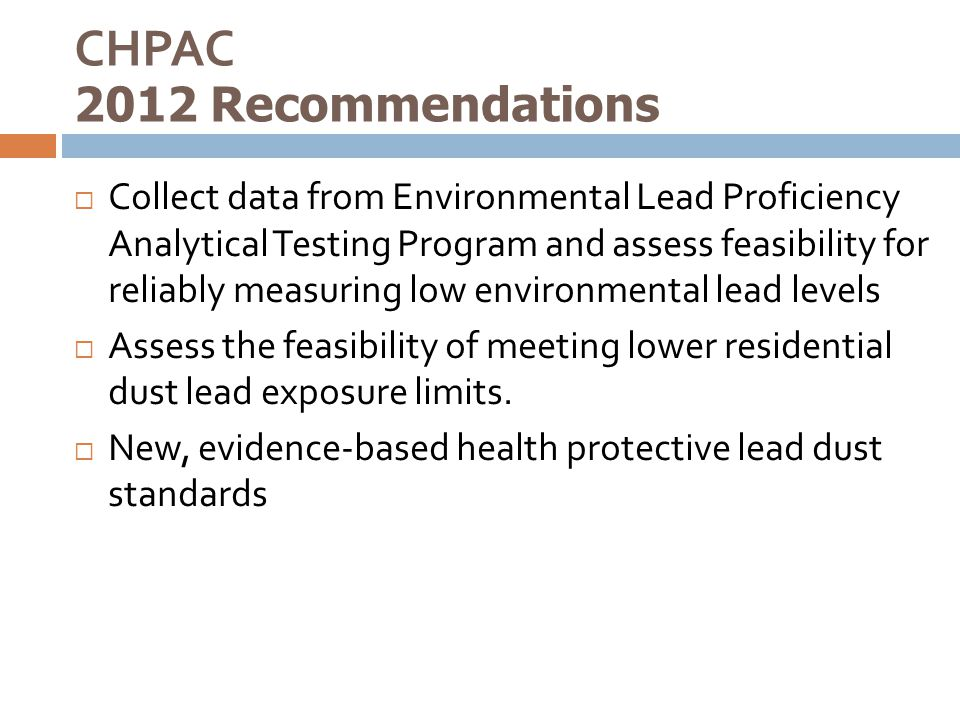 CHPAC 2012 Recommendations