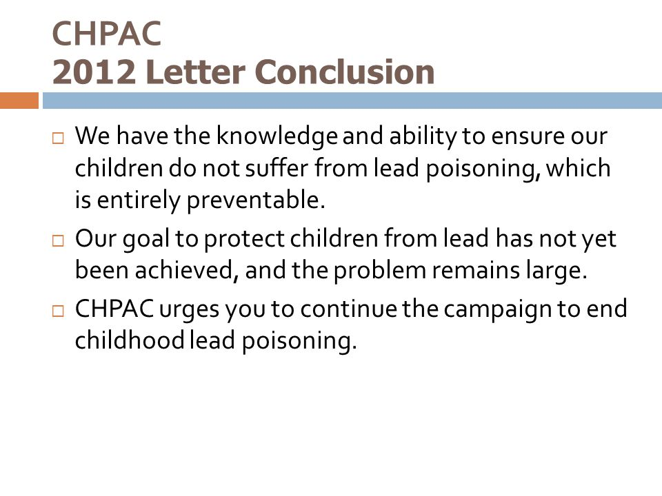 CHPAC 2012 Letter Conclusion
