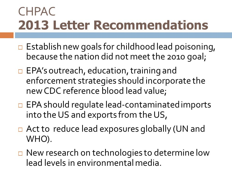CHPAC 2013 Letter Recommendations