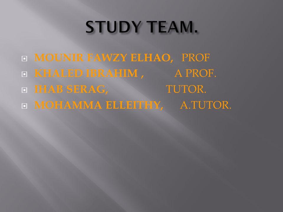 STUDY TEAM. MOUNIR FAWZY ELHAO, PROF KHALED IBRAHIM , A PROF.