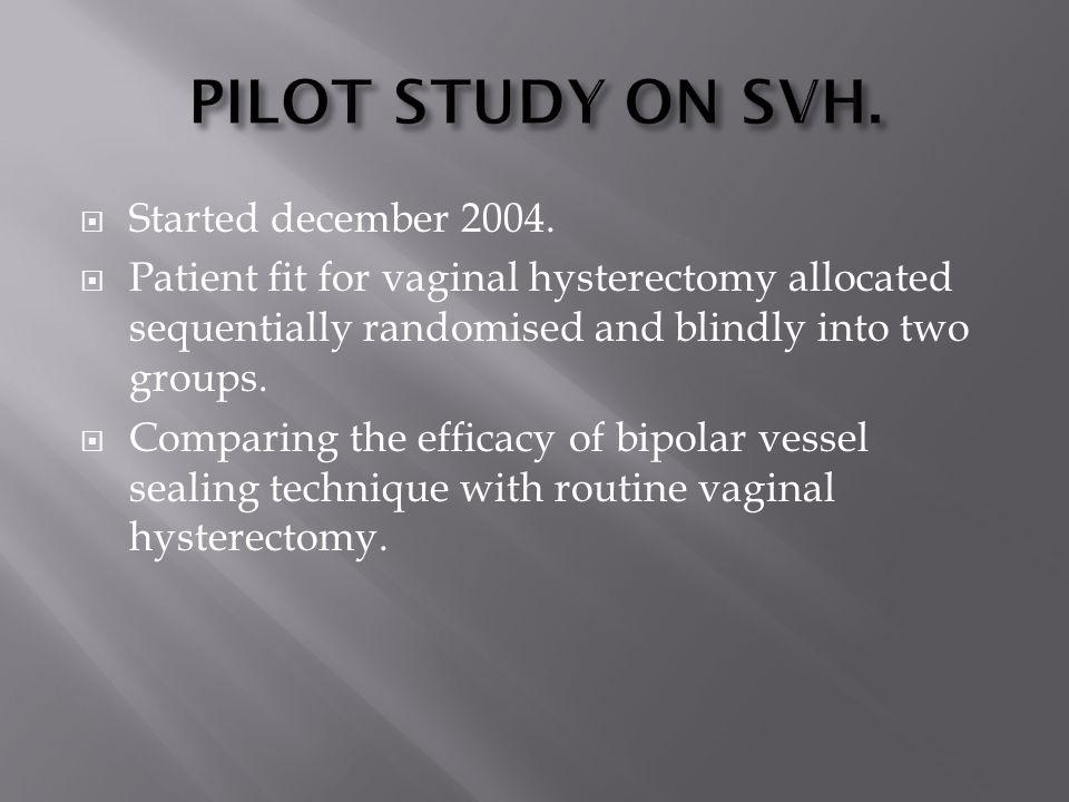 PILOT STUDY ON SVH. Started december 2004.