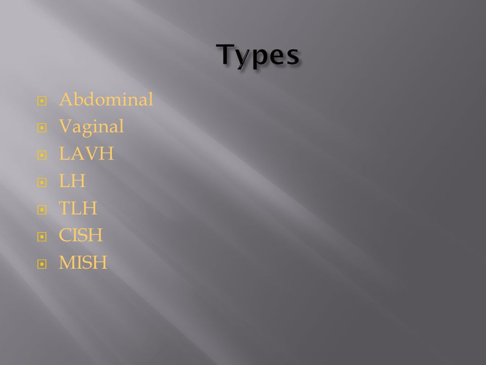 Types Abdominal Vaginal LAVH LH TLH CISH MISH