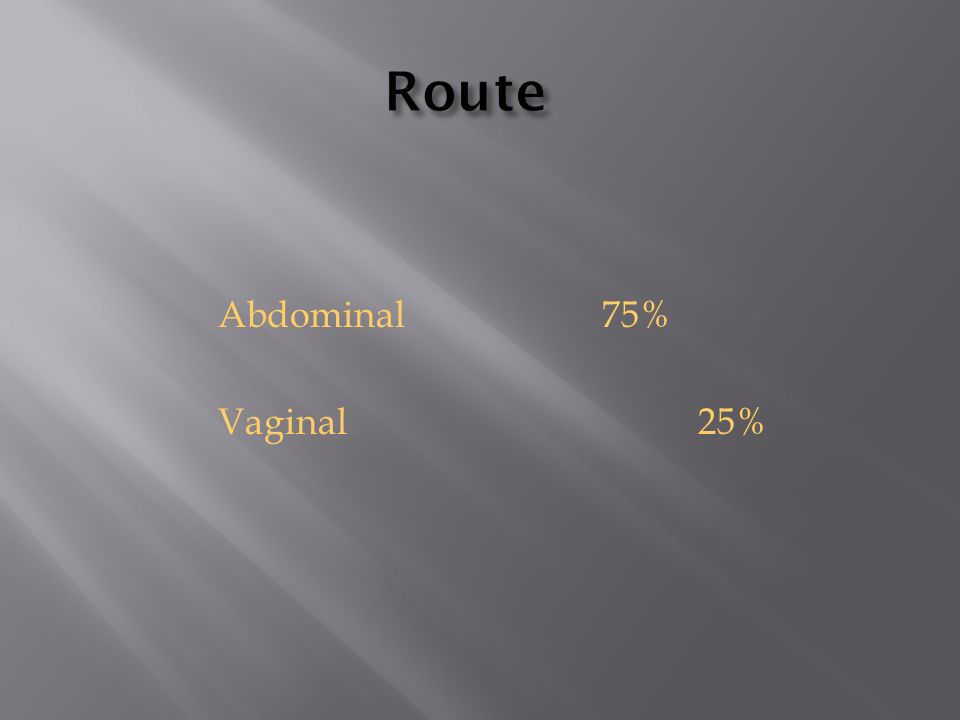 Route Abdominal 75% Vaginal 25%