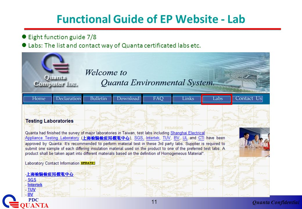 Functional Guide of EP Website - Lab