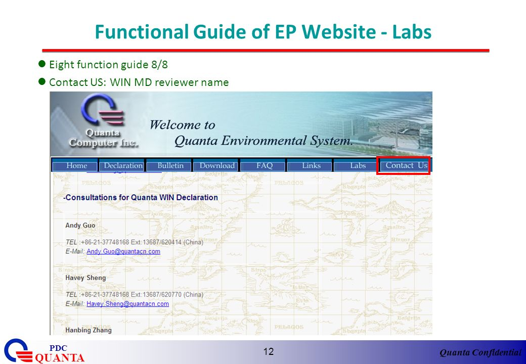 Functional Guide of EP Website - Labs