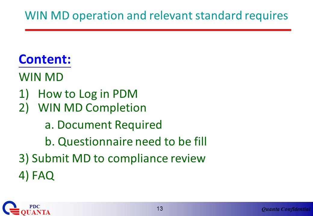 WIN MD operation and relevant standard requires