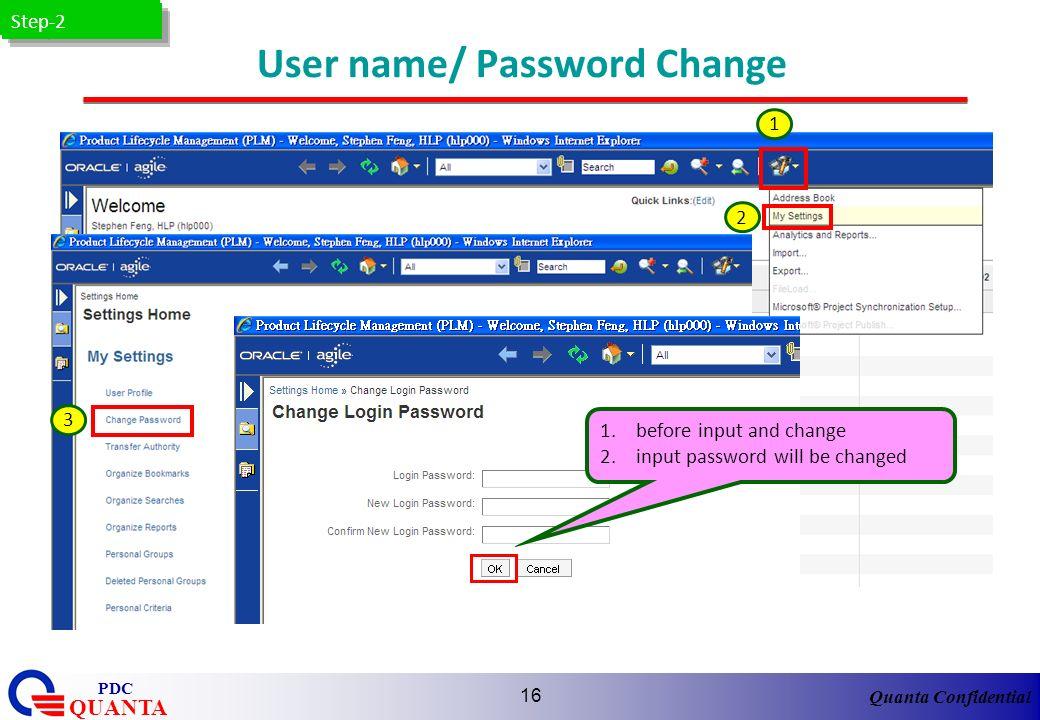 User name/ Password Change