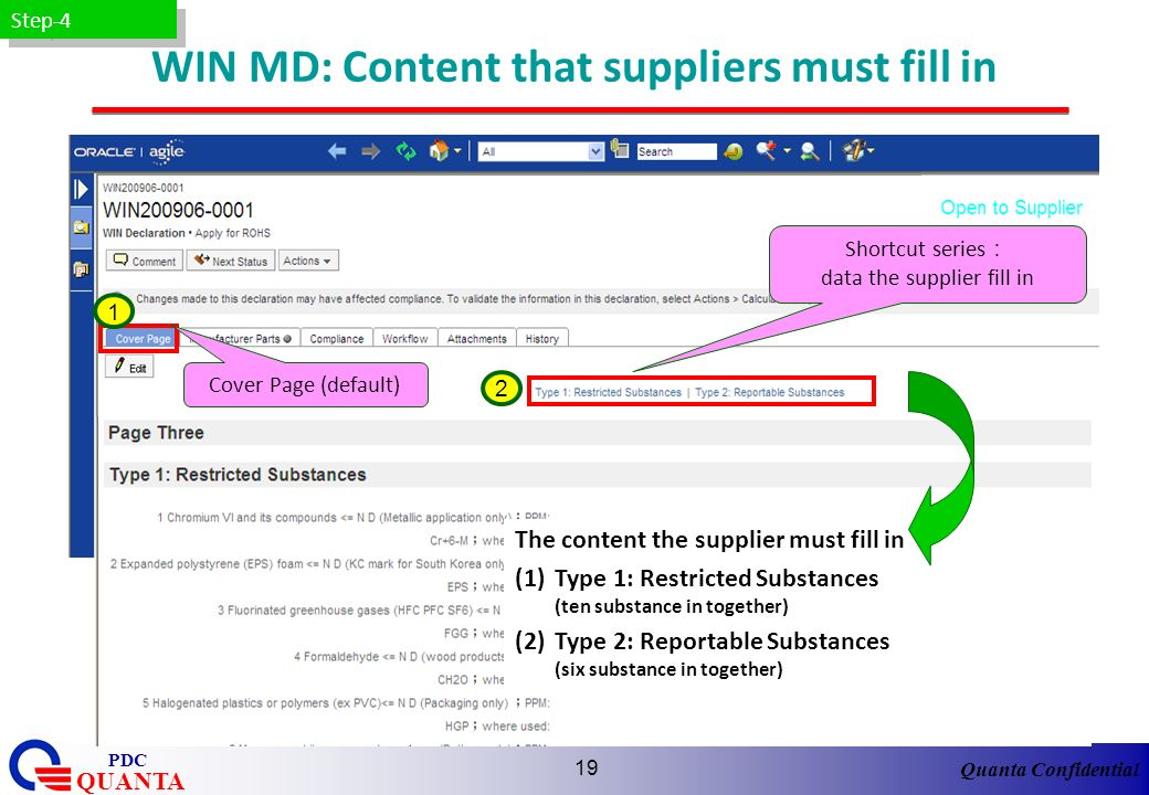 WIN MD: Content that suppliers must fill in