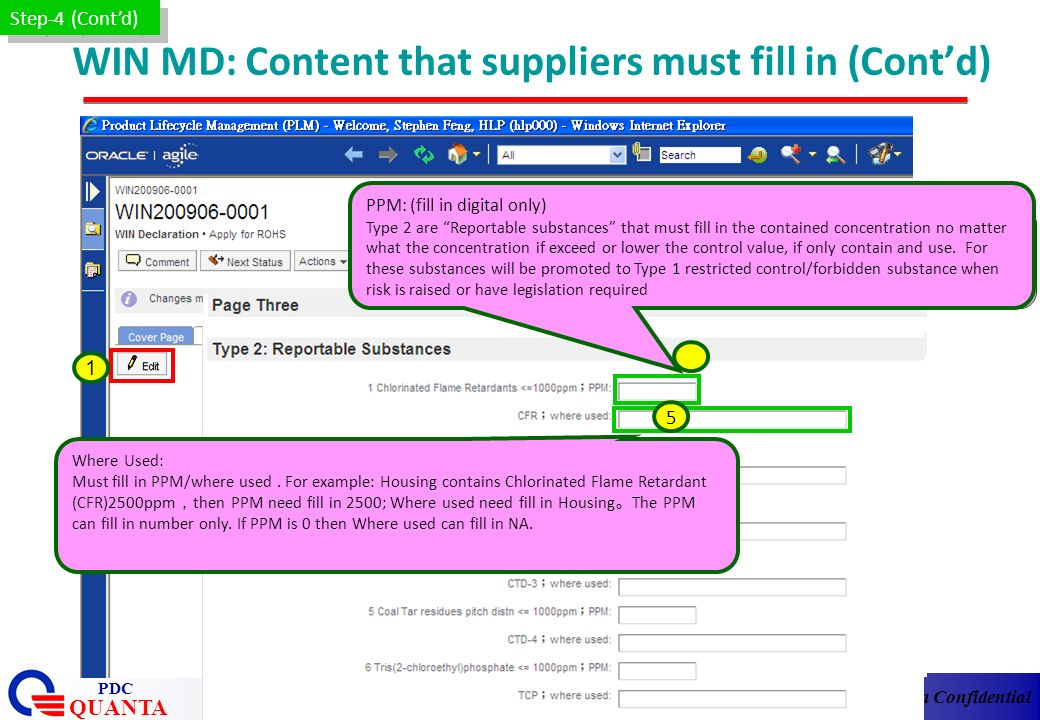 WIN MD: Content that suppliers must fill in (Cont'd)